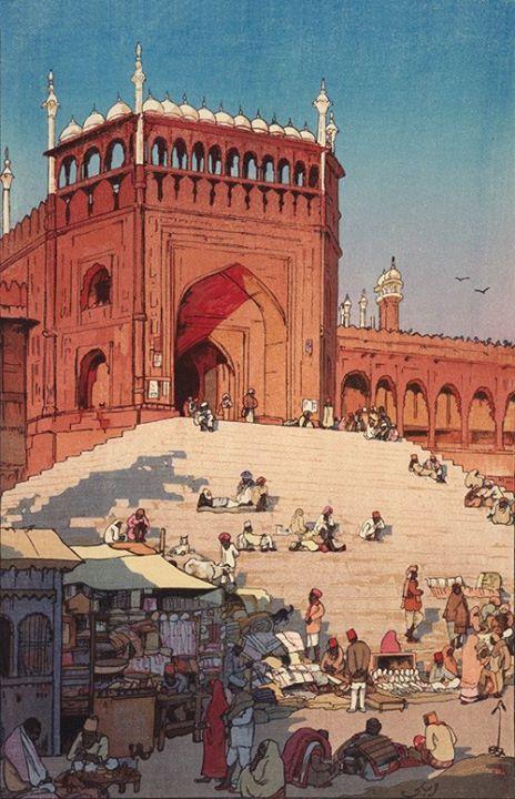 RBSI - Jami Masjid, Delhi - 1931 Yoshida Hiroshi , (Japanese, 1876 - 1950)  Showa era Woodblock print; ink and color on paper H: 37.6 W: 24.7 cm Japan  Yoshida spent the New Year of 1931 in Delhi
