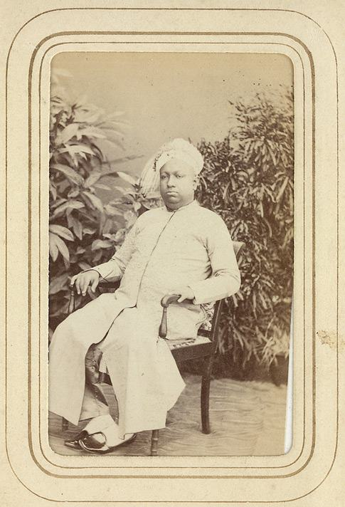 Full Length Seated Carte De Visite Portrait Of Rama Varma Maharaja Travancore 1832 1880 From The Album Cartes Portraits Indian