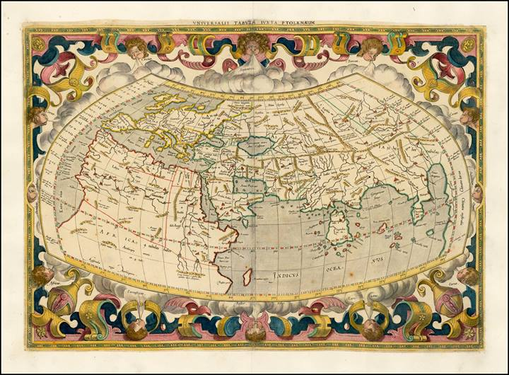 Rare books society of india rare map universalis tabula iuxta ptolemaeum map maker gerard mercator duisburg 1578 description gorgeous example of mercators map of the world gumiabroncs Images